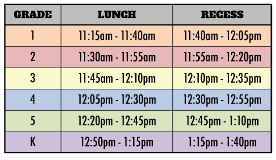 Lincoln Lunch Schedule