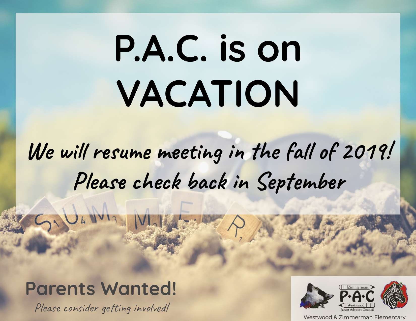 P.A.C. is on Vacation Flyer