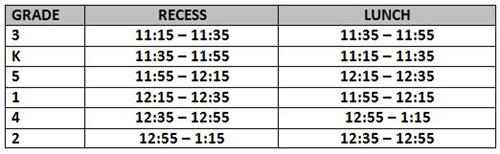 Lunch/Recess Schedule 18-19