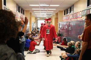 Graduates visit their old elementary schools in the spring.