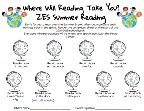 Summer Reading Sheet