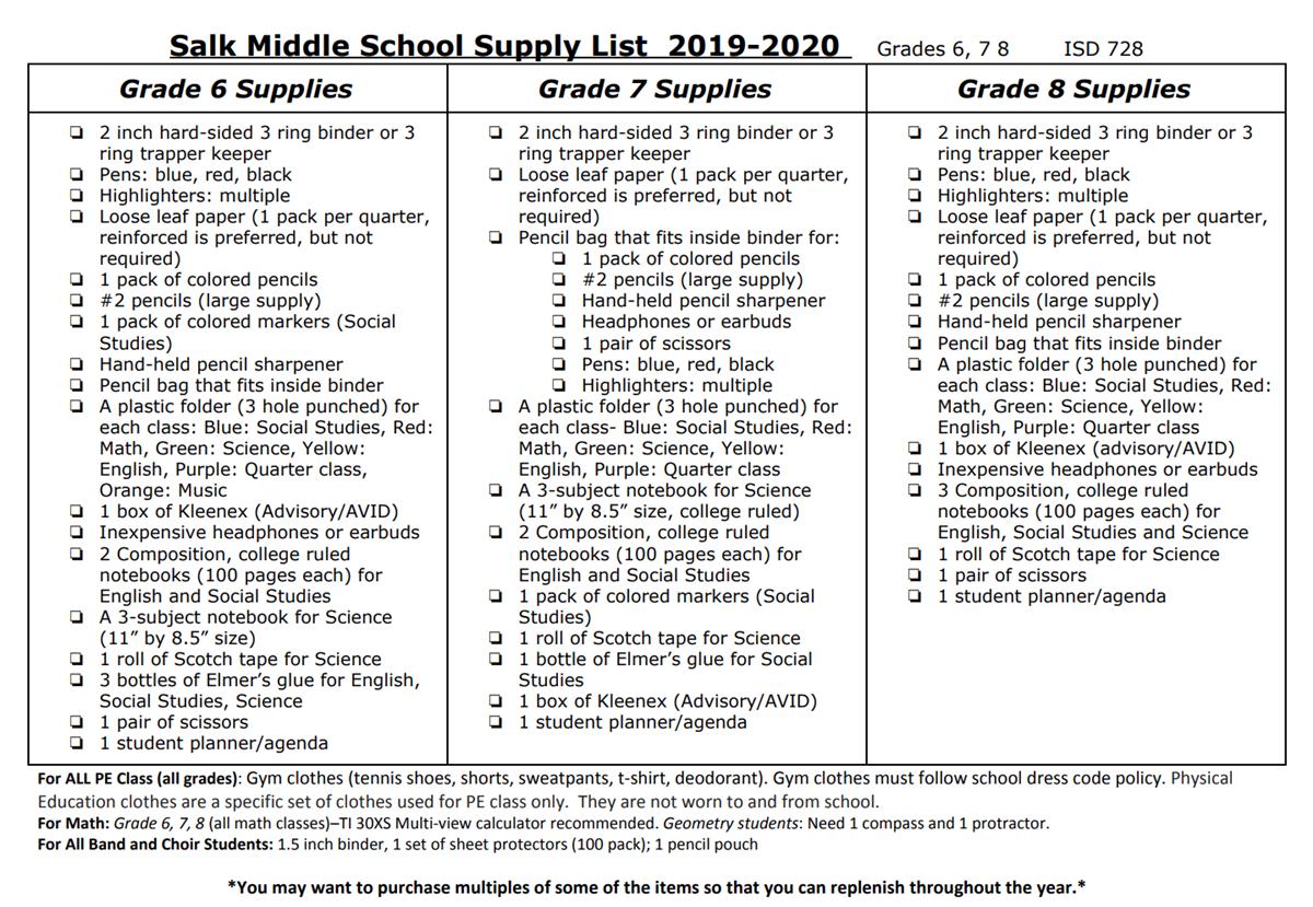 Back to School / School Supply List 2019-20