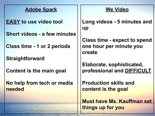 Spark or WeVideo