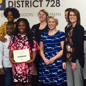 Students Honored by ISD 728 Board at Monthly Recognition Event